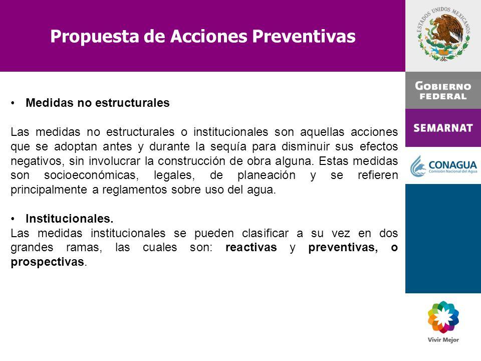 Propuesta de Acciones Preventivas Medidas no estructurales Las medidas no estructurales o institucionales son aquellas acciones que se adoptan antes y