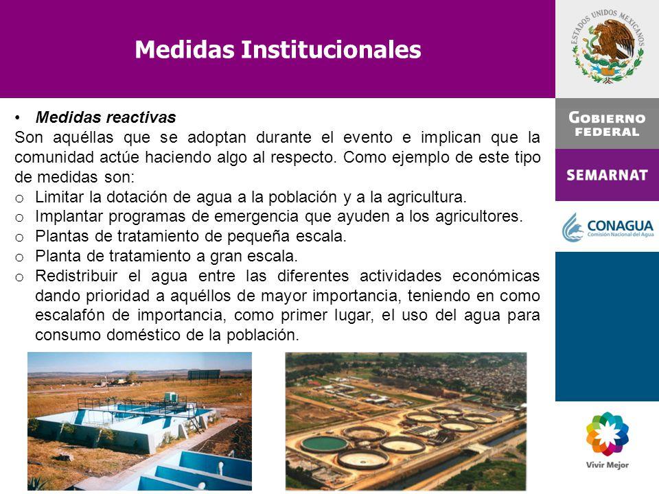 Medidas Institucionales Medidas reactivas Son aquéllas que se adoptan durante el evento e implican que la comunidad actúe haciendo algo al respecto. C