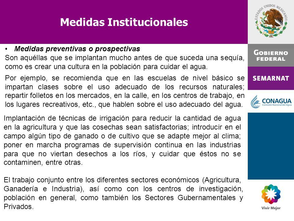 Medidas Institucionales Medidas preventivas o prospectivas Son aquéllas que se implantan mucho antes de que suceda una sequía, como es crear una cultu