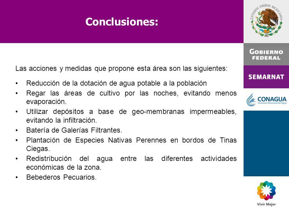 Conclusiones: Las acciones y medidas que propone esta área son las siguientes: Reducción de la dotación de agua potable a la población Regar las áreas