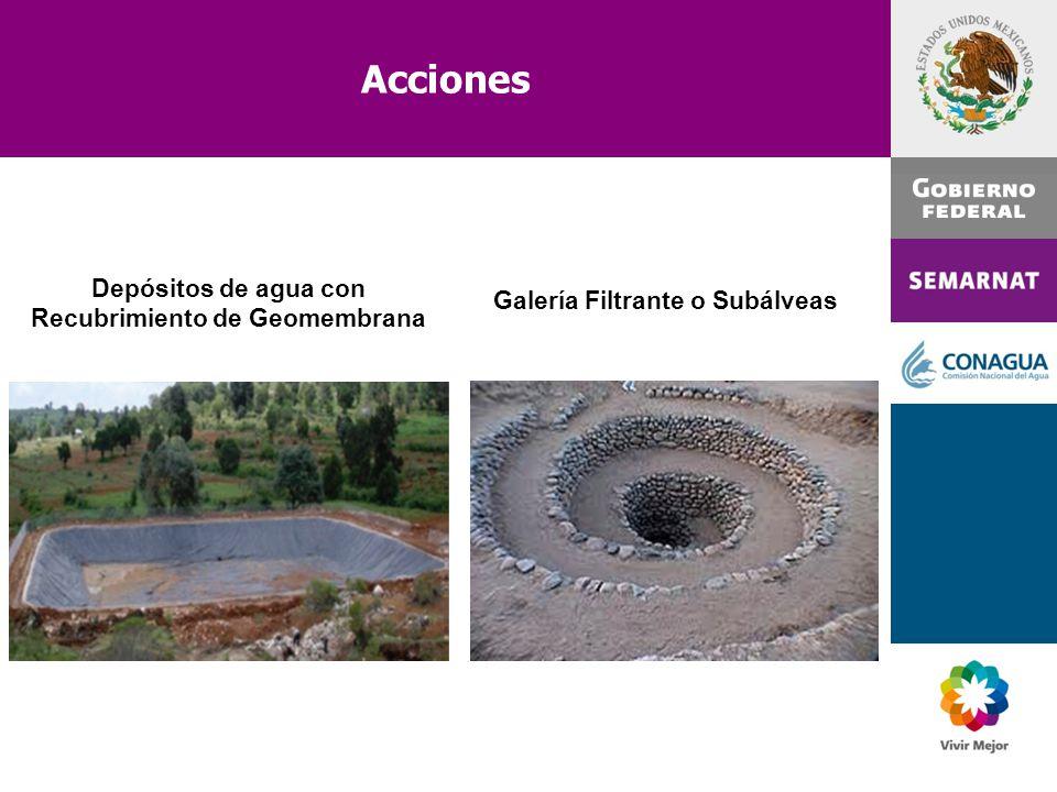 Acciones Depósitos de agua con Recubrimiento de Geomembrana Galería Filtrante o Subálveas