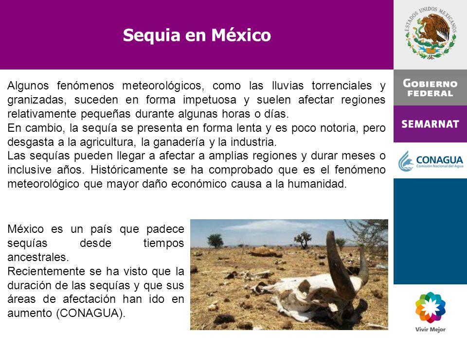 Sequia en México Algunos fenómenos meteorológicos, como las lluvias torrenciales y granizadas, suceden en forma impetuosa y suelen afectar regiones re