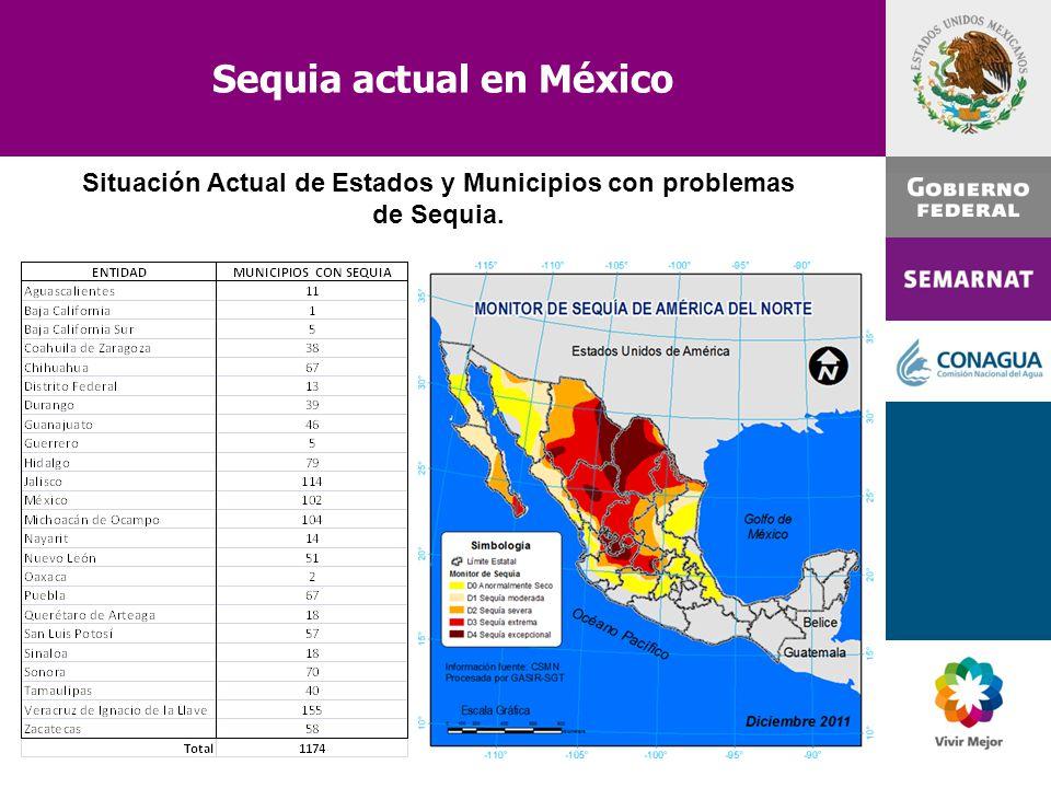Sequia actual en México Situación Actual de Estados y Municipios con problemas de Sequia.