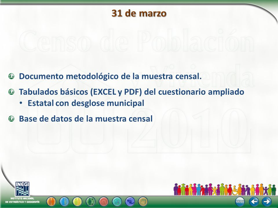 Documento metodológico de la muestra censal. Tabulados básicos (EXCEL y PDF) del cuestionario ampliado Estatal con desglose municipal Base de datos de