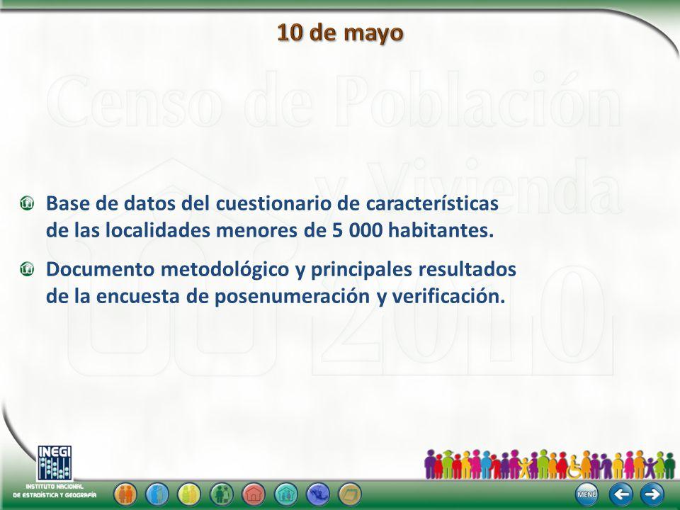 Base de datos del cuestionario de características de las localidades menores de 5 000 habitantes. Documento metodológico y principales resultados de l