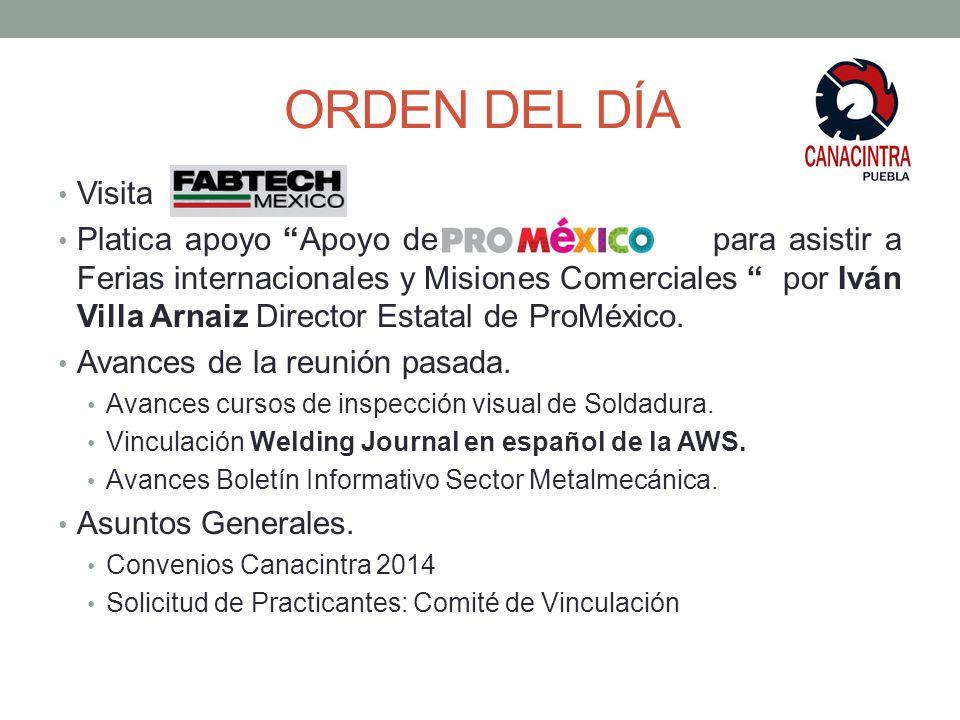 ORDEN DEL DÍA Visita Platica apoyo Apoyo de México p para asistir a Ferias internacionales y Misiones Comerciales por Iván Villa Arnaiz Director Estatal de ProMéxico.
