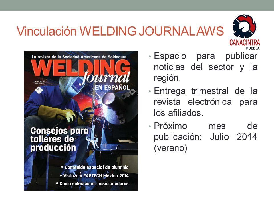 Vinculación WELDING JOURNAL AWS Espacio para publicar noticias del sector y la región.