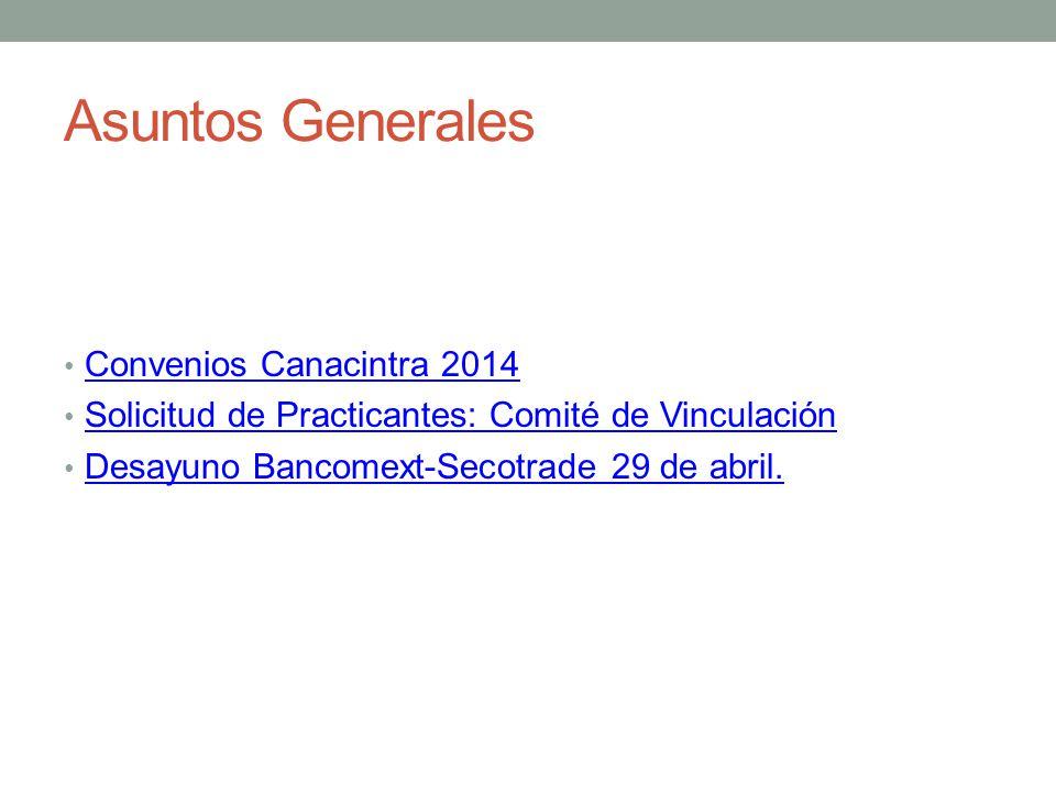 Asuntos Generales Convenios Canacintra 2014 Solicitud de Practicantes: Comité de Vinculación Desayuno Bancomext-Secotrade 29 de abril.