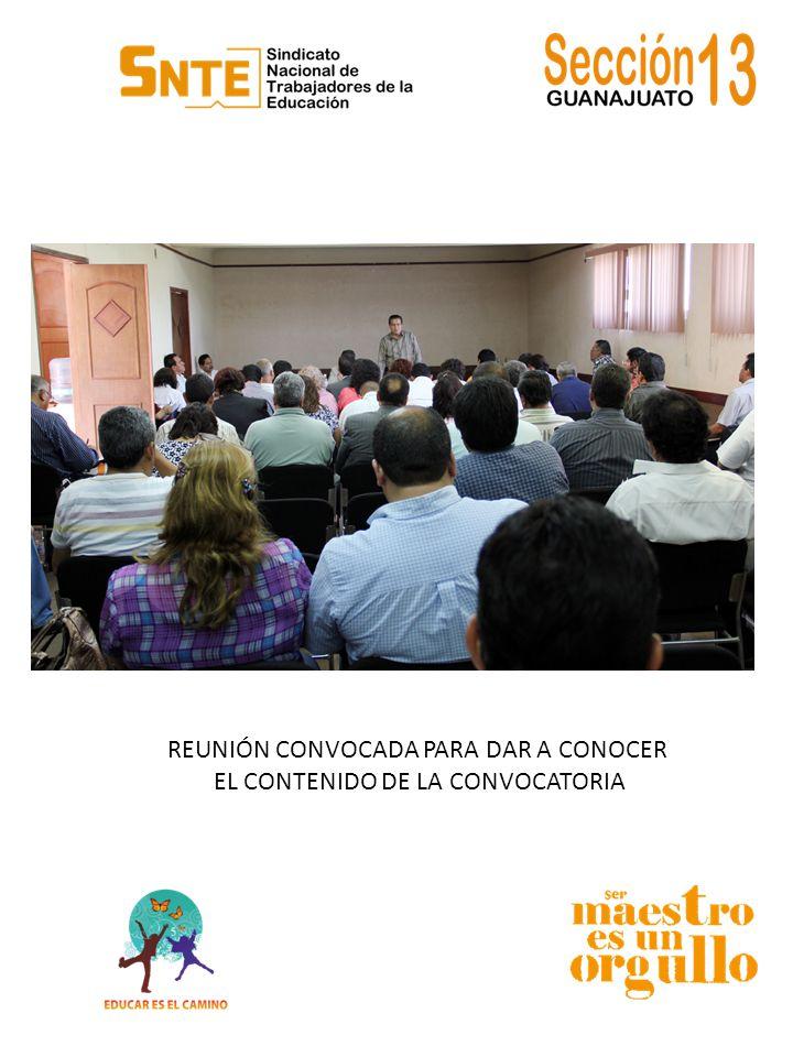PUBLICACIÓN DE LA CONVOCATORIA EN LAS INSTALACIONES DE LA SECCIÓN 13 DEL SNTE