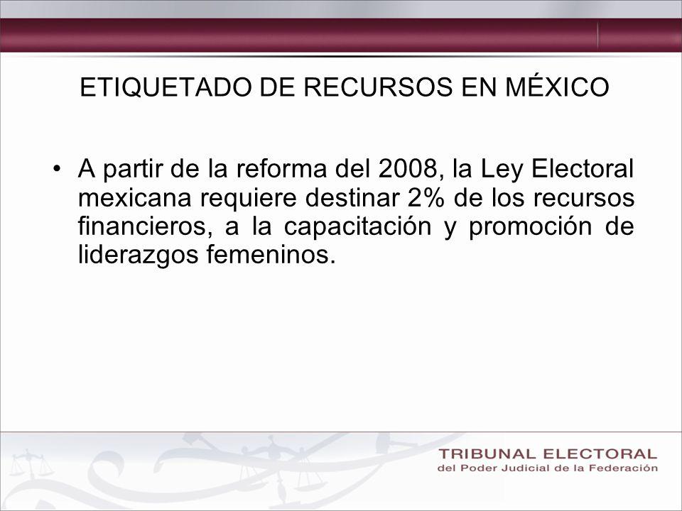 A partir de la reforma del 2008, la Ley Electoral mexicana requiere destinar 2% de los recursos financieros, a la capacitación y promoción de liderazgos femeninos.