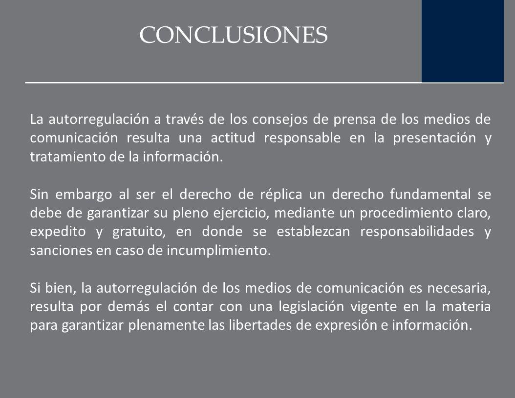 CONCLUSIONES Por lo que se refiere al derecho de réplica en México, es un hecho que la Ley de Imprenta no establece la aplicación y ejercicio de este