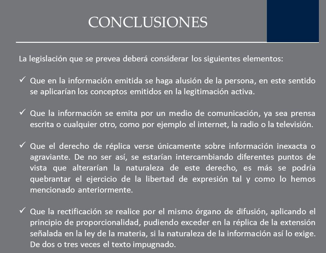 CONCLUSIONES La autorregulación a través de los consejos de prensa de los medios de comunicación resulta una actitud responsable en la presentación y