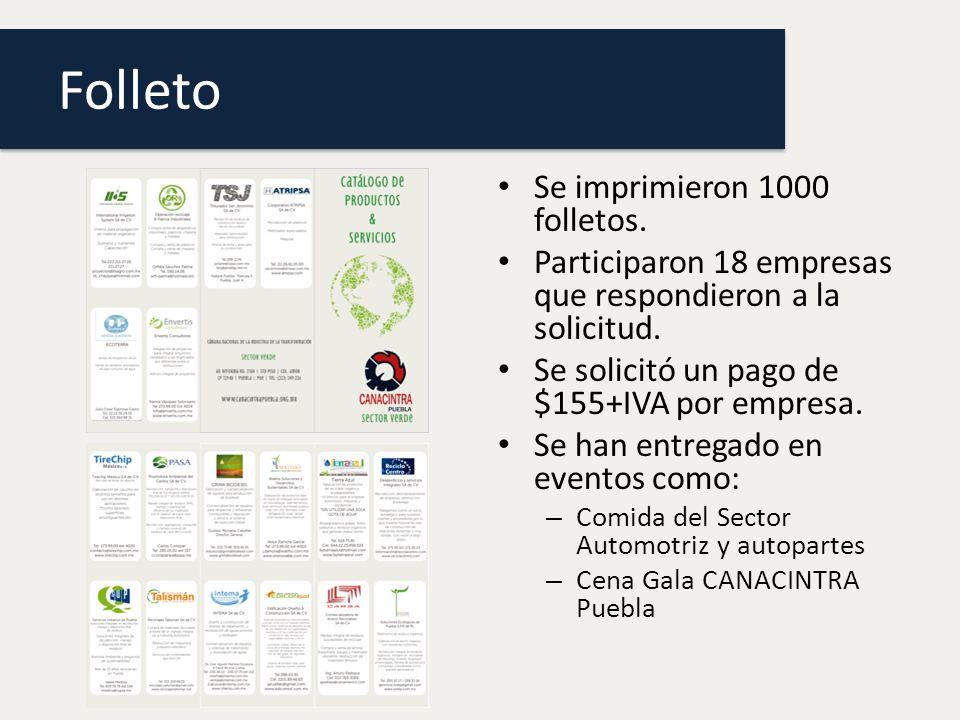 Folleto Se imprimieron 1000 folletos.Participaron 18 empresas que respondieron a la solicitud.
