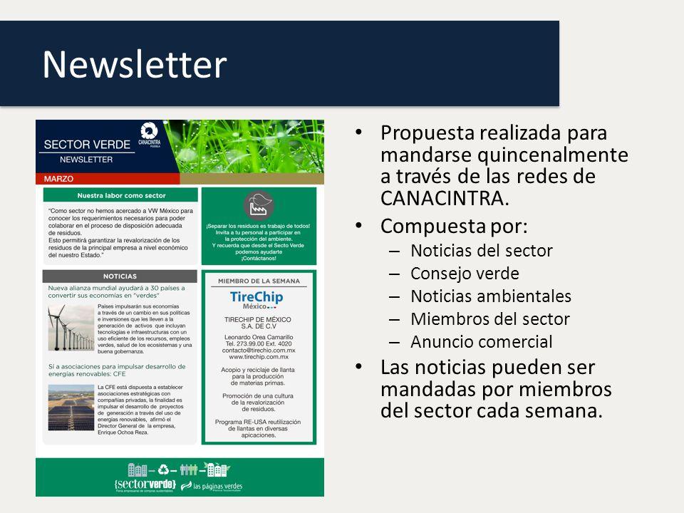 Newsletter Propuesta realizada para mandarse quincenalmente a través de las redes de CANACINTRA.