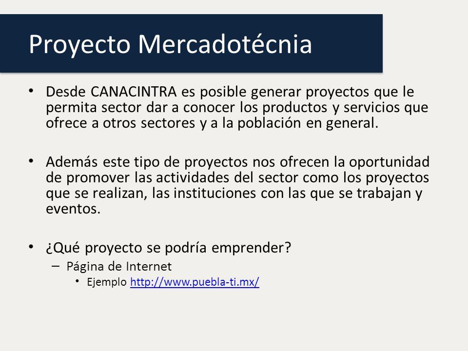 Proyecto Mercadotécnia Desde CANACINTRA es posible generar proyectos que le permita sector dar a conocer los productos y servicios que ofrece a otros sectores y a la población en general.