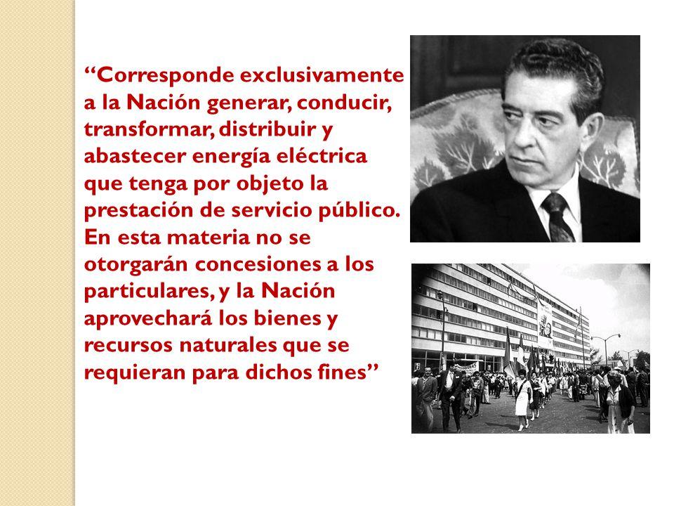 Corresponde exclusivamente a la Nación generar, conducir, transformar, distribuir y abastecer energía eléctrica que tenga por objeto la prestación de servicio público.