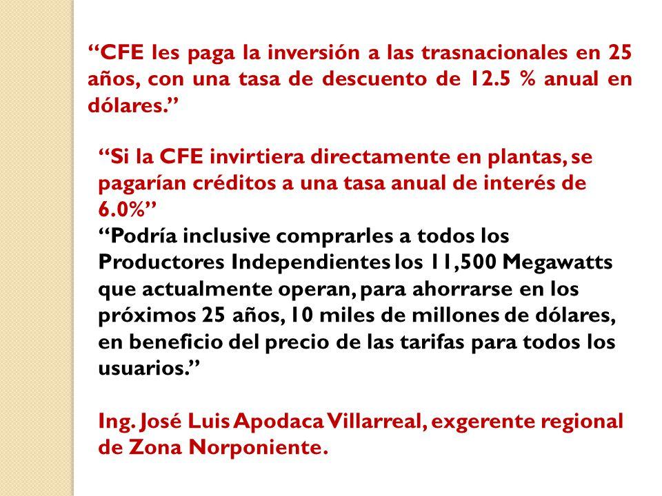 CFE les paga la inversión a las trasnacionales en 25 años, con una tasa de descuento de 12.5 % anual en dólares.