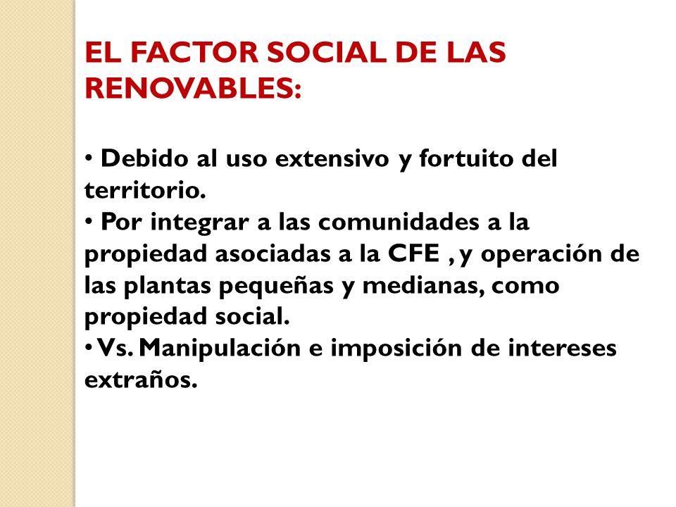 EL FACTOR SOCIAL DE LAS RENOVABLES: Debido al uso extensivo y fortuito del territorio.