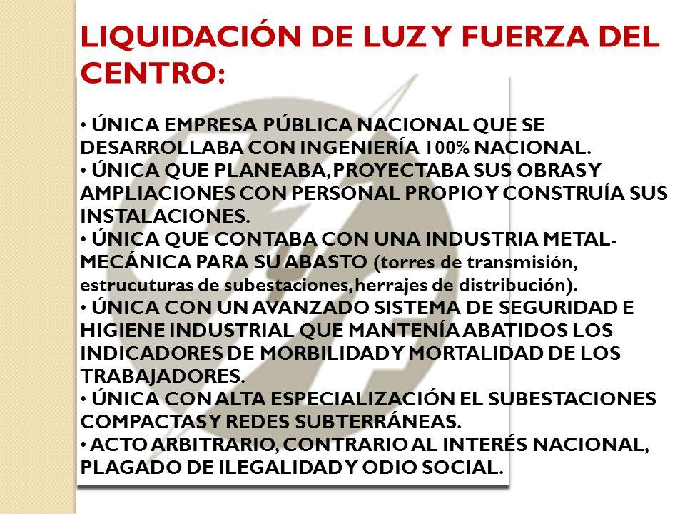 LIQUIDACIÓN DE LUZ Y FUERZA DEL CENTRO: ÚNICA EMPRESA PÚBLICA NACIONAL QUE SE DESARROLLABA CON INGENIERÍA 100% NACIONAL.
