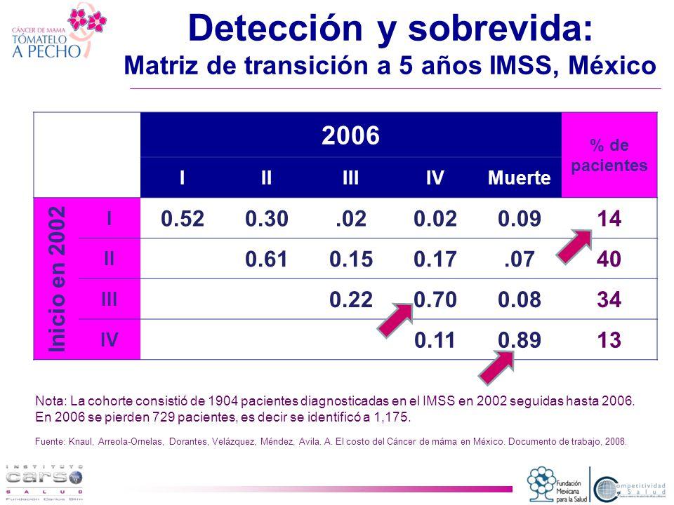 Detección y sobrevida: Matriz de transición a 5 años IMSS, México 2006 % de pacientes IIIIIIIVMuerte Inicio en 2002 I 0.520.30.020.020.0914 II 0.610.150.17.0740 III 0.220.700.0834 IV 0.110.8913 Nota: La cohorte consistió de 1904 pacientes diagnosticadas en el IMSS en 2002 seguidas hasta 2006.