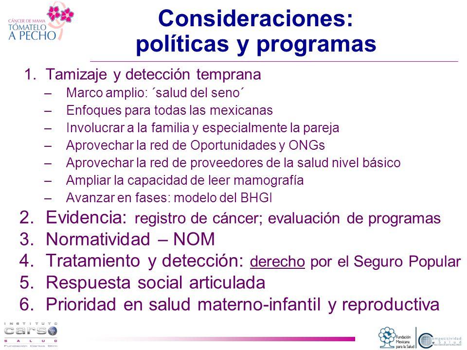 Consideraciones: políticas y programas 1.Tamizaje y detección temprana –Marco amplio: ´salud del seno´ –Enfoques para todas las mexicanas –Involucrar a la familia y especialmente la pareja –Aprovechar la red de Oportunidades y ONGs –Aprovechar la red de proveedores de la salud nivel básico –Ampliar la capacidad de leer mamografía –Avanzar en fases: modelo del BHGI 2.Evidencia: registro de cáncer; evaluación de programas 3.Normatividad – NOM 4.Tratamiento y detección: derecho por el Seguro Popular 5.Respuesta social articulada 6.Prioridad en salud materno-infantil y reproductiva