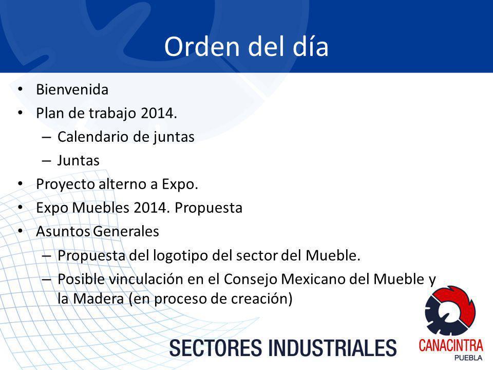 Bienvenida Plan de trabajo 2014. – Calendario de juntas – Juntas Proyecto alterno a Expo. Expo Muebles 2014. Propuesta Asuntos Generales – Propuesta d