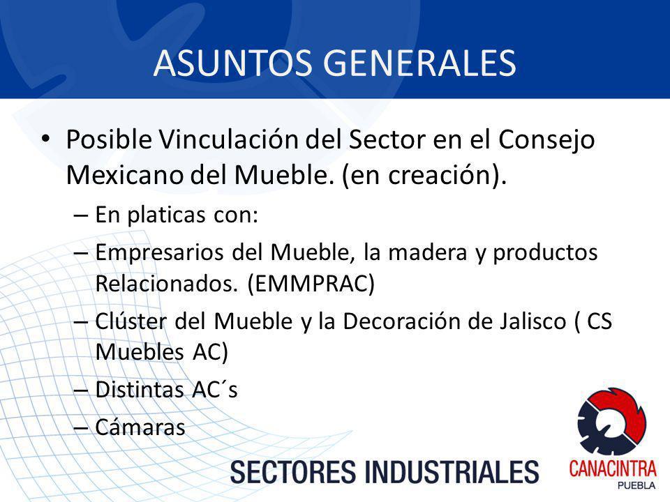 ASUNTOS GENERALES Posible Vinculación del Sector en el Consejo Mexicano del Mueble. (en creación). – En platicas con: – Empresarios del Mueble, la mad