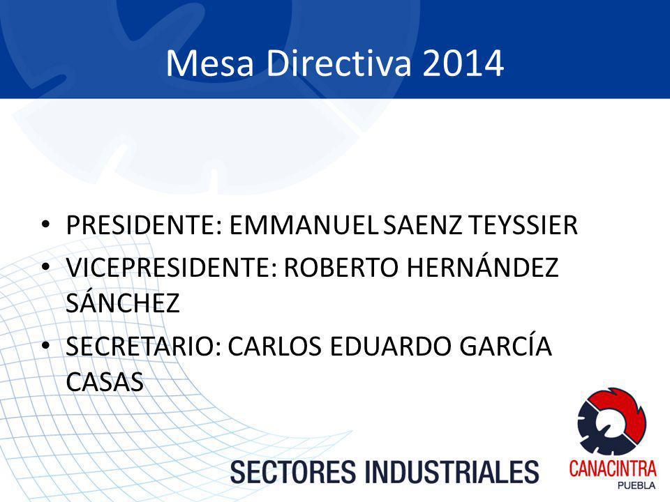 Mesa Directiva 2014 PRESIDENTE: EMMANUEL SAENZ TEYSSIER VICEPRESIDENTE: ROBERTO HERNÁNDEZ SÁNCHEZ SECRETARIO: CARLOS EDUARDO GARCÍA CASAS