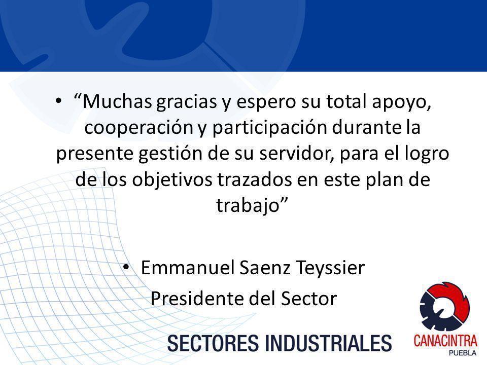 Muchas gracias y espero su total apoyo, cooperación y participación durante la presente gestión de su servidor, para el logro de los objetivos trazados en este plan de trabajo Emmanuel Saenz Teyssier Presidente del Sector