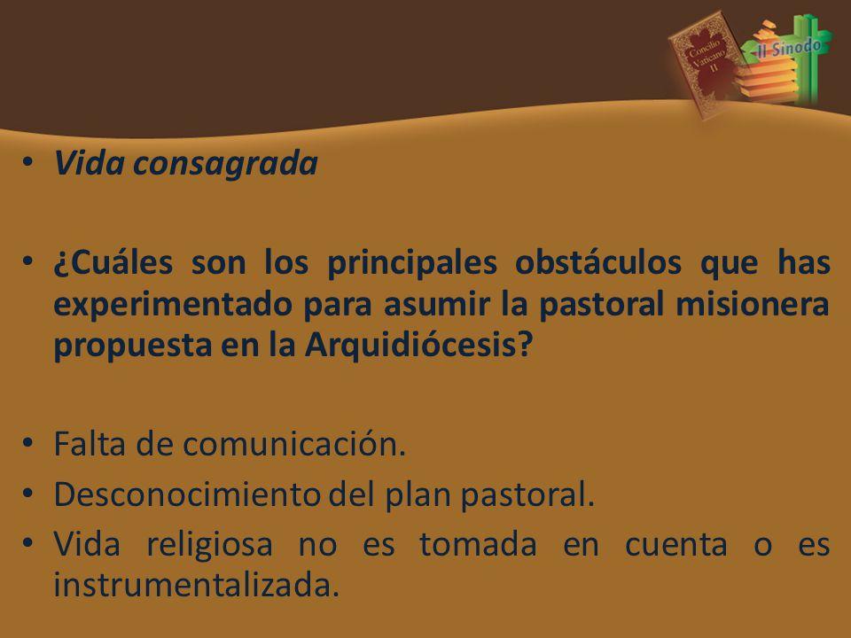 Vida consagrada ¿Cuáles son los principales obstáculos que has experimentado para asumir la pastoral misionera propuesta en la Arquidiócesis? Falta de