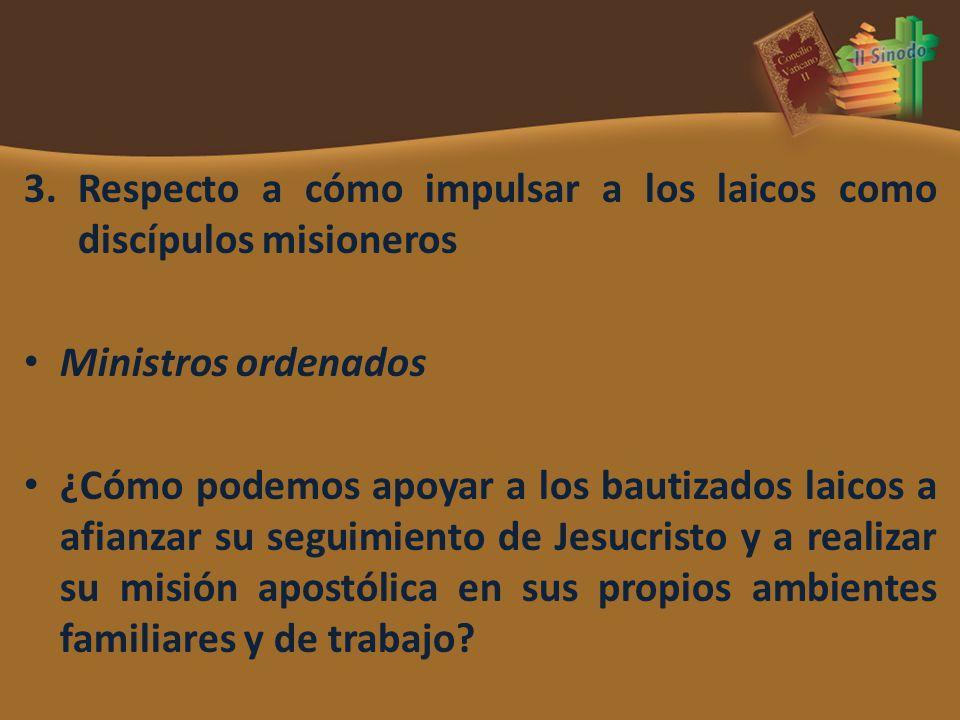 3.Respecto a cómo impulsar a los laicos como discípulos misioneros Ministros ordenados ¿Cómo podemos apoyar a los bautizados laicos a afianzar su segu