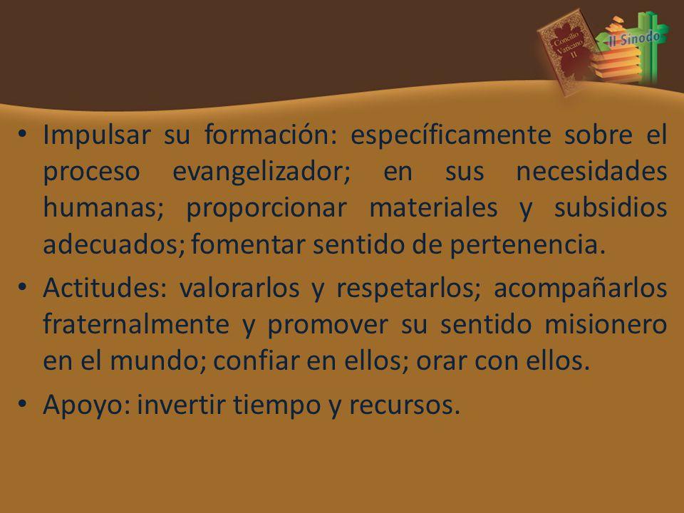 Impulsar su formación: específicamente sobre el proceso evangelizador; en sus necesidades humanas; proporcionar materiales y subsidios adecuados; fome