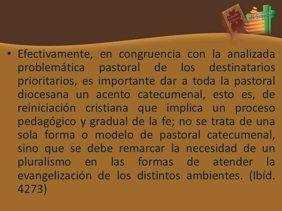 Efectivamente, en congruencia con la analizada problemática pastoral de los destinatarios prioritarios, es importante dar a toda la pastoral diocesana