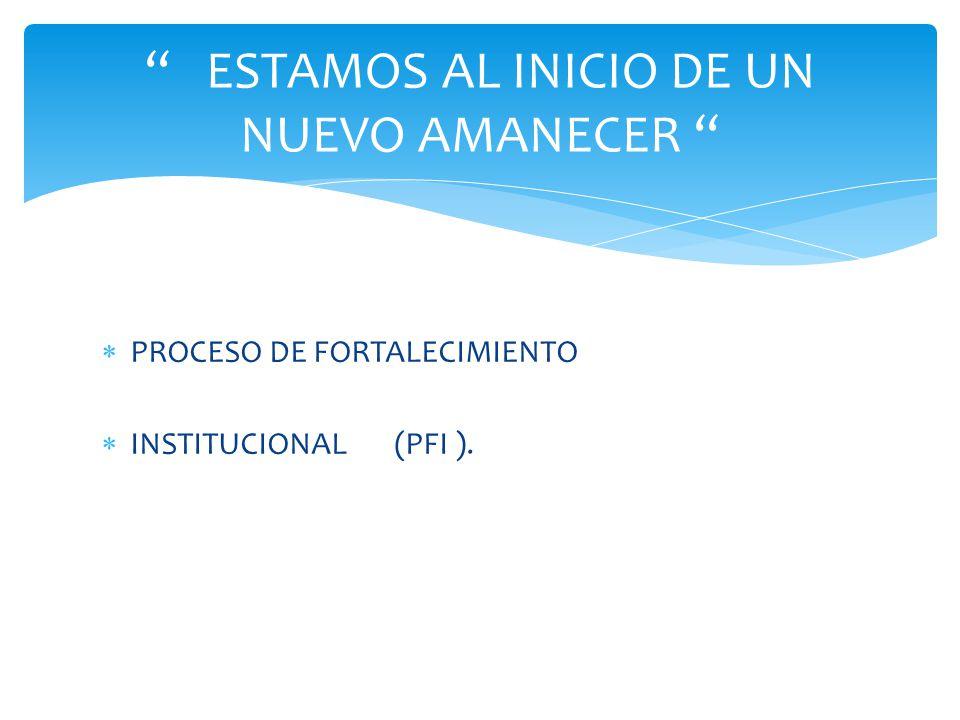 PROCESO DE FORTALECIMIENTO INSTITUCIONAL (PFI ). ESTAMOS AL INICIO DE UN NUEVO AMANECER