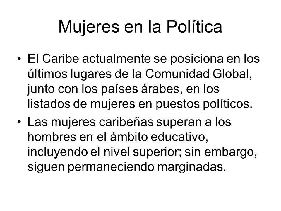 Mujeres en la Política El Caribe actualmente se posiciona en los últimos lugares de la Comunidad Global, junto con los países árabes, en los listados de mujeres en puestos políticos.