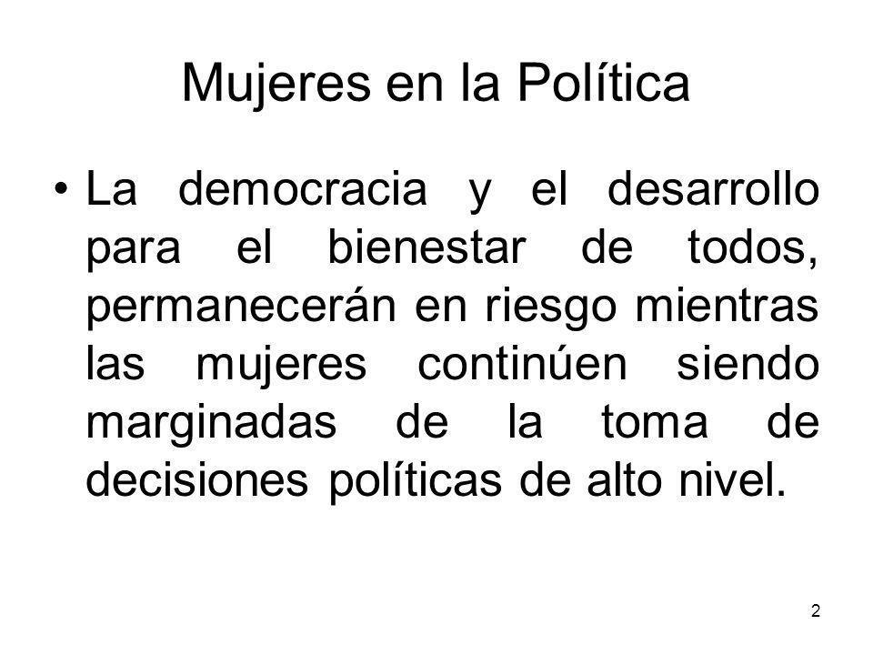 Mujeres en la Política Países miembros dela OEA con leyes de paridad de género – en ambas cámaras: Argentina 30%;30% Bolivia 50%;50% Brazil 30%, no cuota Costa Rica 50% - Unicameral Ecuador 50% - Unicameral Guyana 30% - Unicameral Honduras 30% - Unicameral