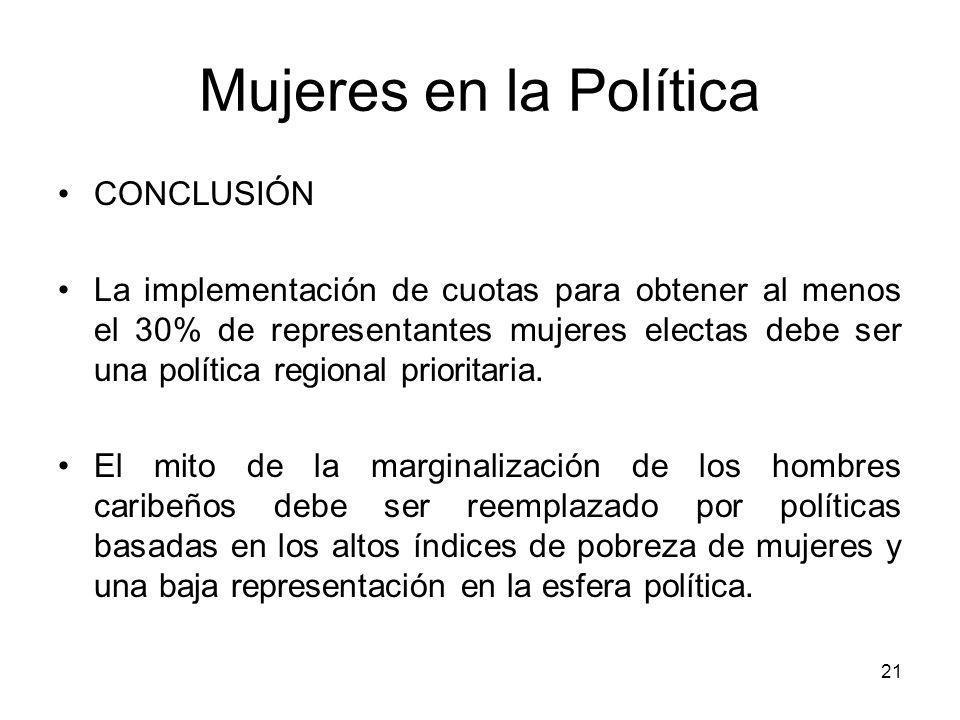 21 Mujeres en la Política CONCLUSIÓN La implementación de cuotas para obtener al menos el 30% de representantes mujeres electas debe ser una política regional prioritaria.