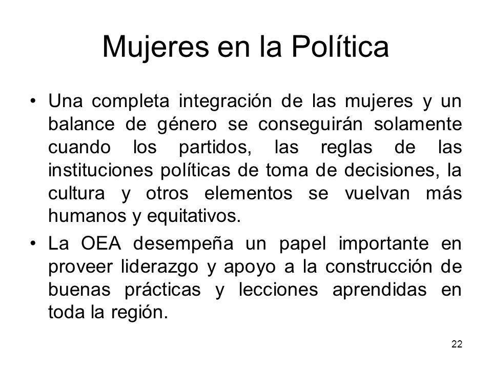 22 Mujeres en la Política Una completa integración de las mujeres y un balance de género se conseguirán solamente cuando los partidos, las reglas de las instituciones políticas de toma de decisiones, la cultura y otros elementos se vuelvan más humanos y equitativos.