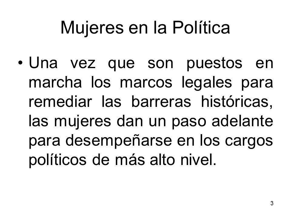 Mujeres en la Política México 40%; 40% Panamá 30%; Unicameral Paraguay 20%; 20% Perú 30% - Unicameral Rep.