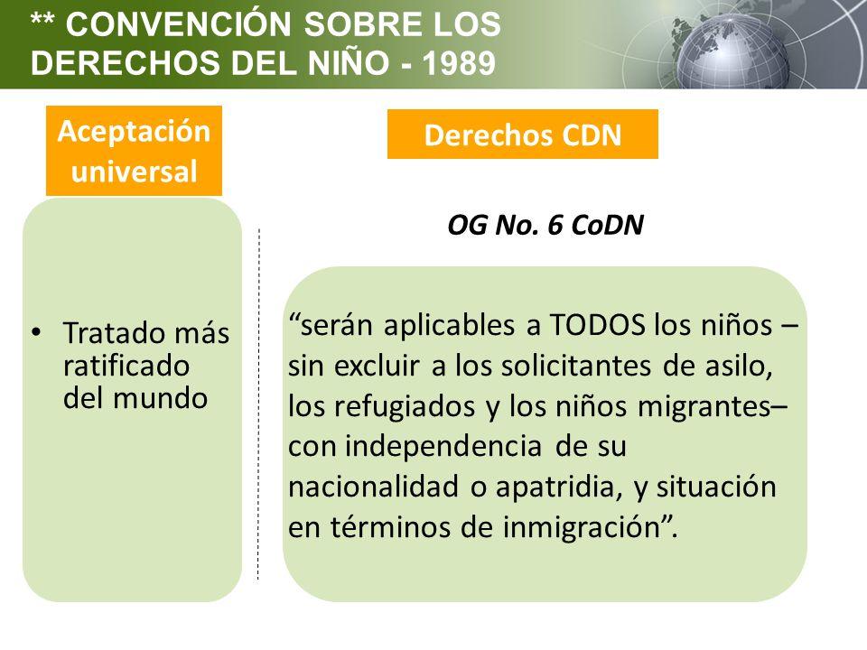 Aceptación universal Derechos CDN serán aplicables a TODOS los niños – sin excluir a los solicitantes de asilo, los refugiados y los niños migrantes–