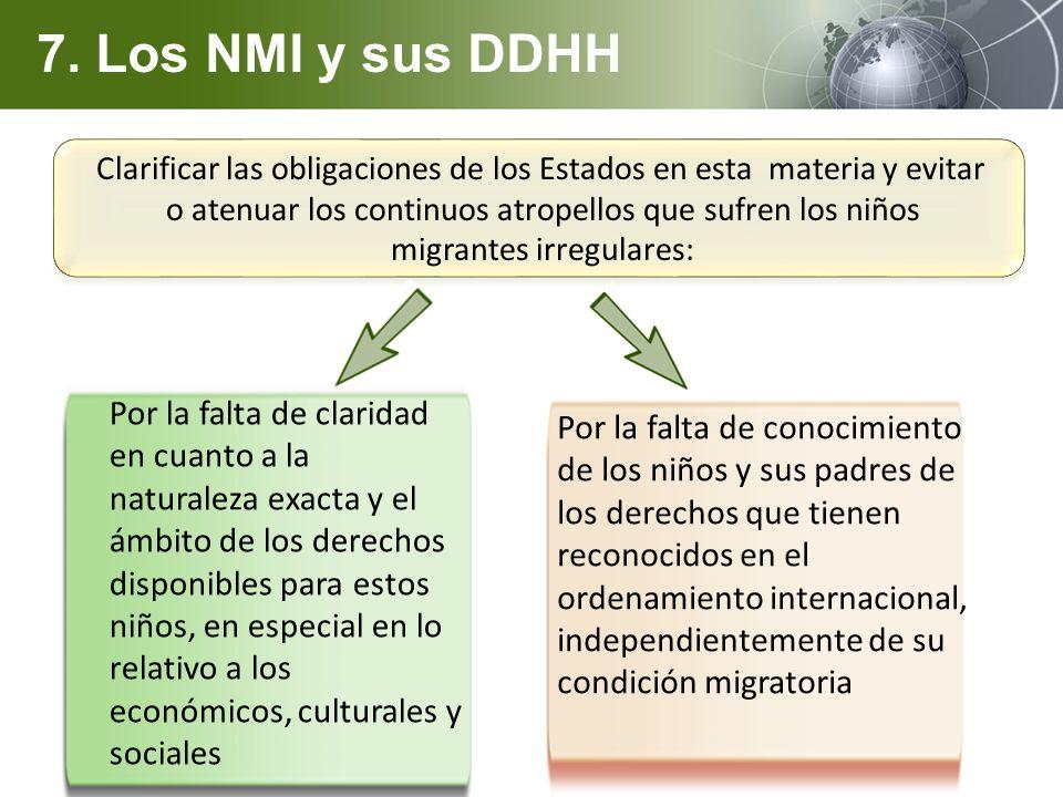 Clarificar las obligaciones de los Estados en esta materia y evitar o atenuar los continuos atropellos que sufren los niños migrantes irregulares: 7.
