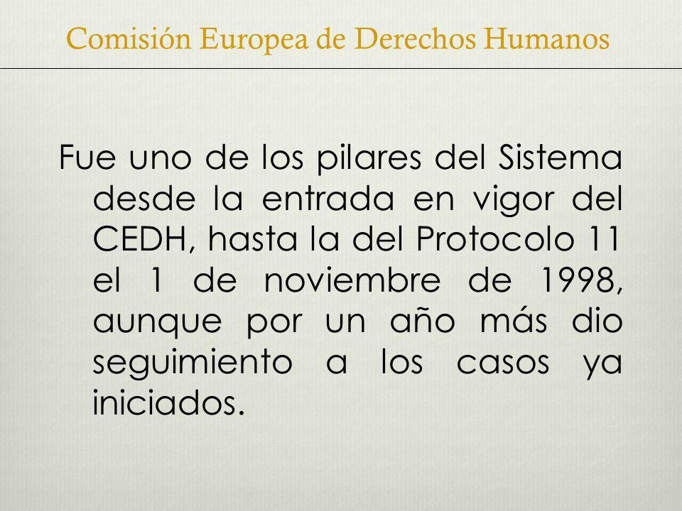 Fue uno de los pilares del Sistema desde la entrada en vigor del CEDH, hasta la del Protocolo 11 el 1 de noviembre de 1998, aunque por un año más dio seguimiento a los casos ya iniciados.