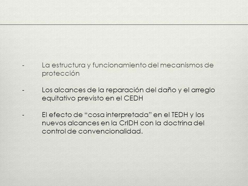 - La estructura y funcionamiento del mecanismos de protección - Los alcances de la reparación del daño y el arreglo equitativo previsto en el CEDH - El efecto de cosa interpretada en el TEDH y los nuevos alcances en la CrIDH con la doctrina del control de convencionalidad.