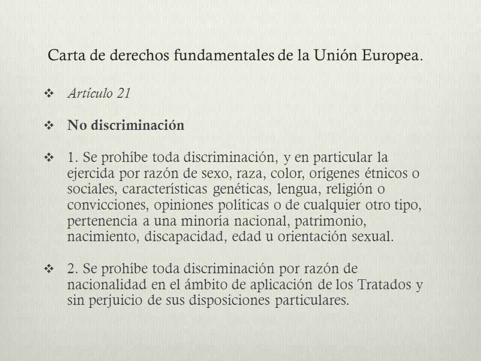 Carta de derechos fundamentales de la Unión Europea.