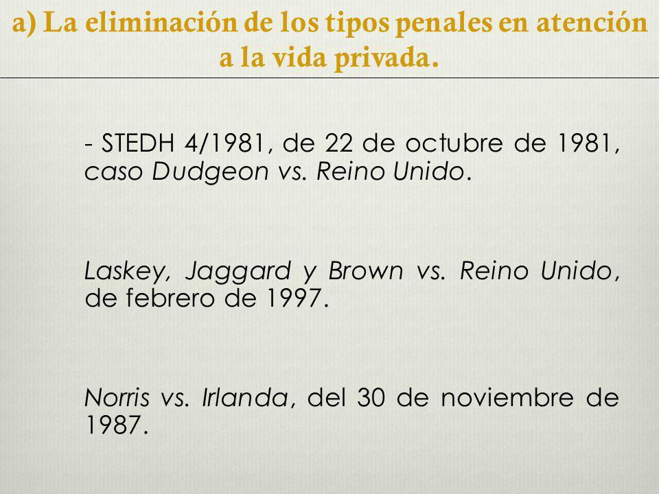 - STEDH 4/1981, de 22 de octubre de 1981, caso Dudgeon vs.