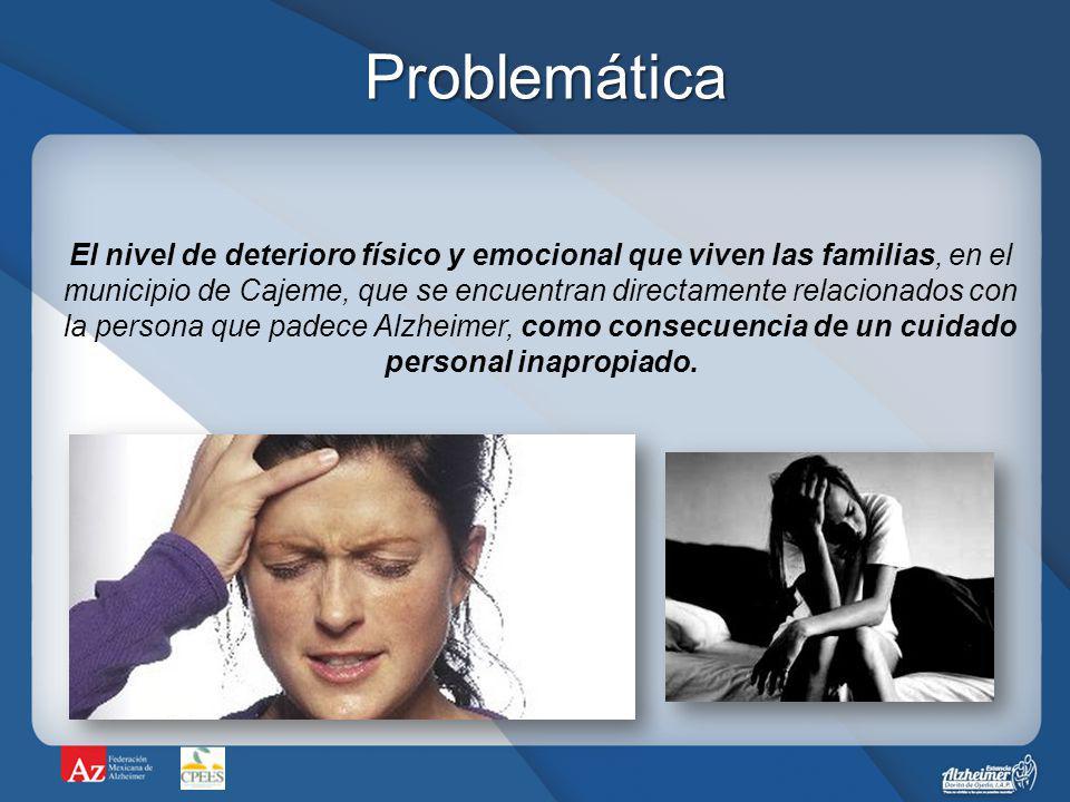 OBJETIVO El deterioro físico y emocional del cuidador lo priva de desempeñarse satisfactoriamente en tres principales áreas: –Personal (salud emocional, física e imagen).