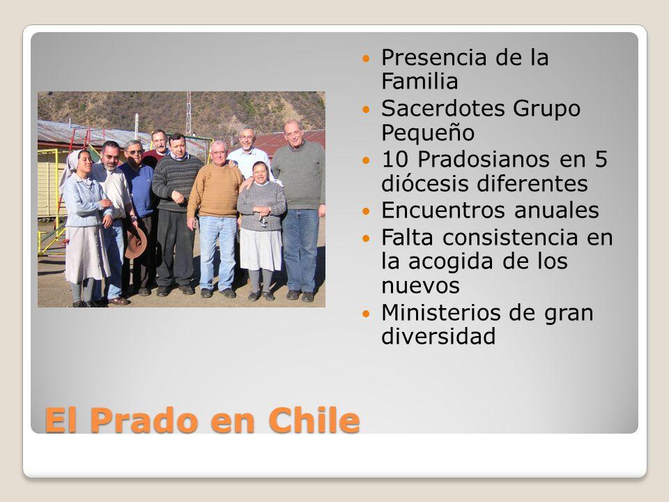 El Prado en Chile Presencia de la Familia Sacerdotes Grupo Pequeño 10 Pradosianos en 5 diócesis diferentes Encuentros anuales Falta consistencia en la acogida de los nuevos Ministerios de gran diversidad