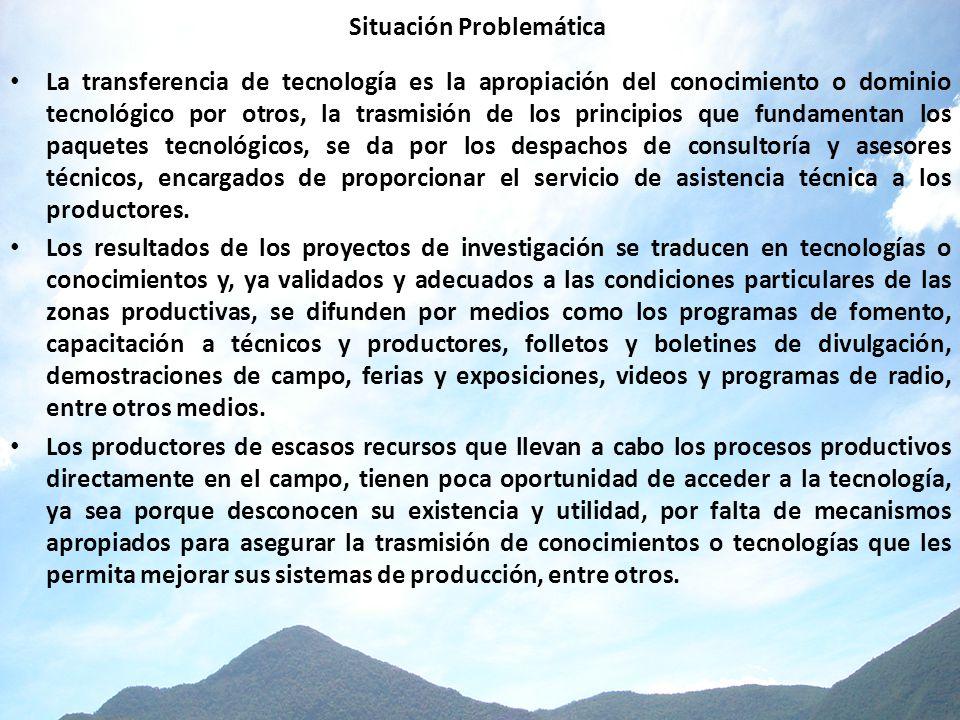 Situación Problemática La transferencia de tecnología es la apropiación del conocimiento o dominio tecnológico por otros, la trasmisión de los princip