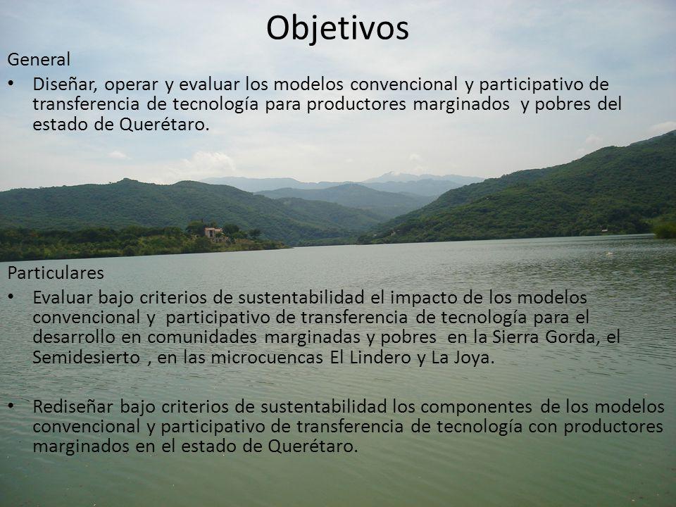 Objetivos General Diseñar, operar y evaluar los modelos convencional y participativo de transferencia de tecnología para productores marginados y pobr