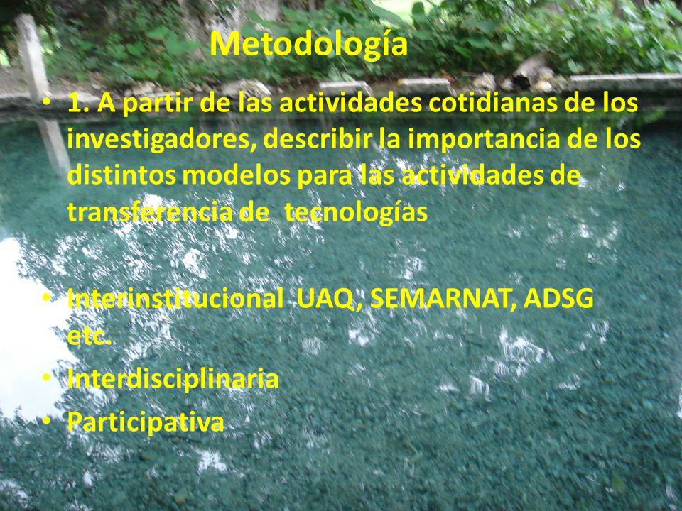 Metodología 1. A partir de las actividades cotidianas de los investigadores, describir la importancia de los distintos modelos para las actividades de